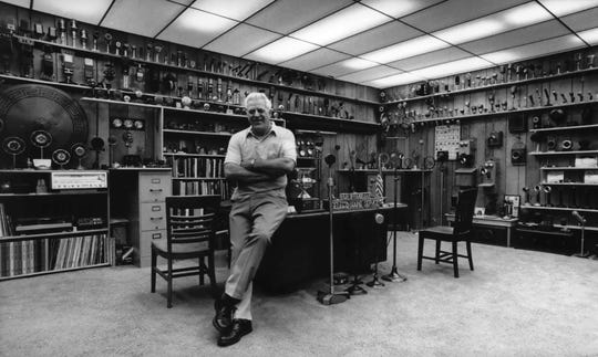 A 1983 photo shows Bob Paquette as the curator, director and owner of the only microphone museum in the country, at 107 E. National Ave. He has lent microphones to  the Smithsonian Institution, the Freedom Train, movies and Broadway.