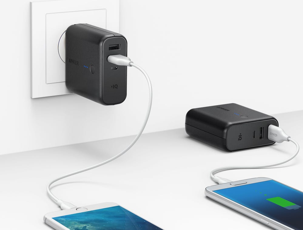 Anker PowerCore Fusion, $25.99. A wall charger with a built-in battery for charging devices when an outlet isn't available.