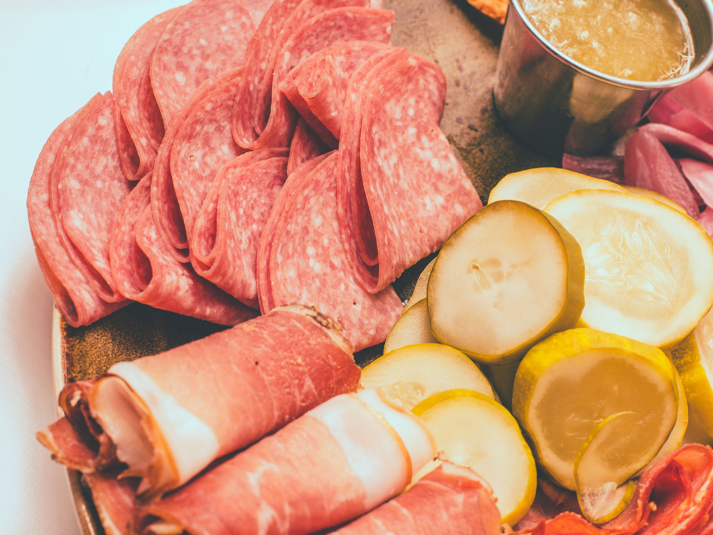 The Meat Platter, with proscuitto, capicola, salami, pickles, apple jalapeno jam and more, is one of six food packages available in Cafe Benelux's Lux Domes.