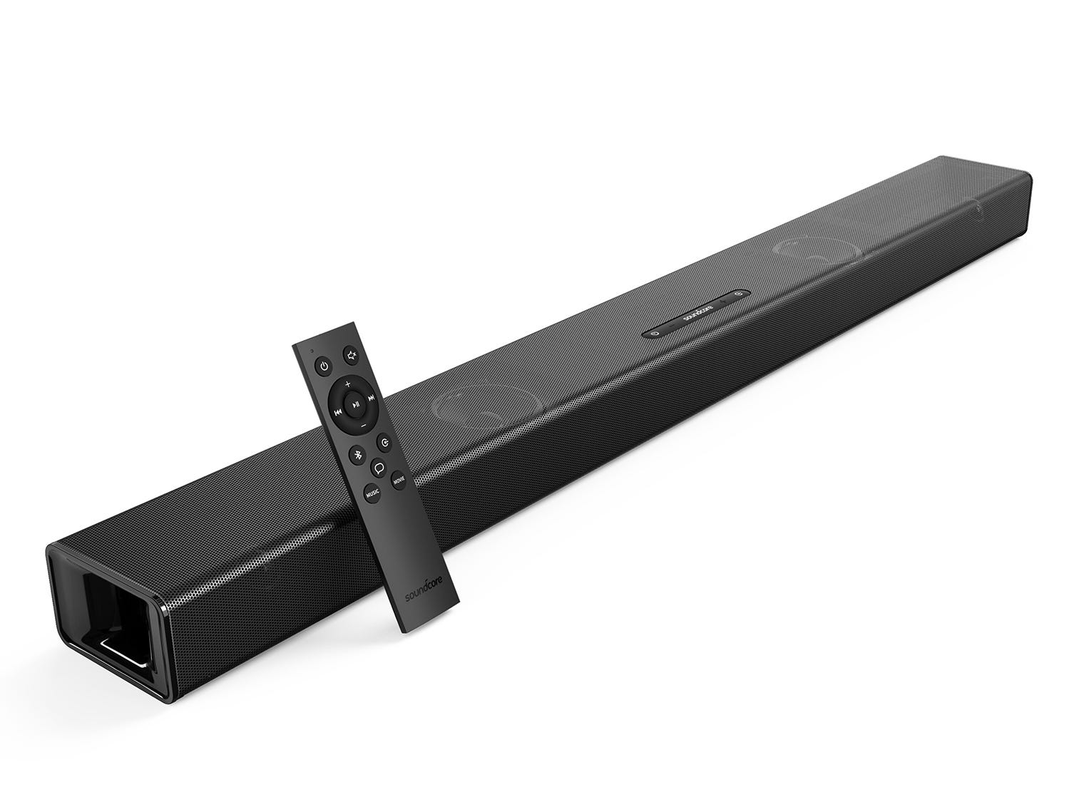 SoundCore Infini Integrated 2.1-Channel Soundbar, $99.99. With a built-in subwoofer for solid bass.