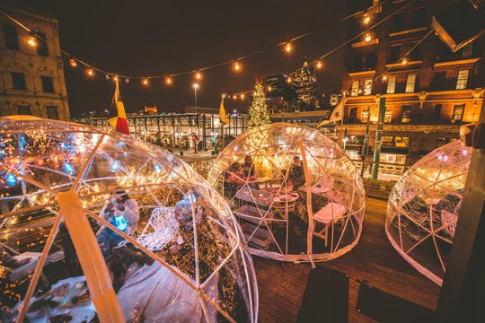 Cafe Benelux in Milwaukee's Third Ward added six Lux Domes to its rooftop for the winter. The domes, which have small heaters and fit eight people each, opened Nov. 30, 2018. They are sold out through Dec. 23.