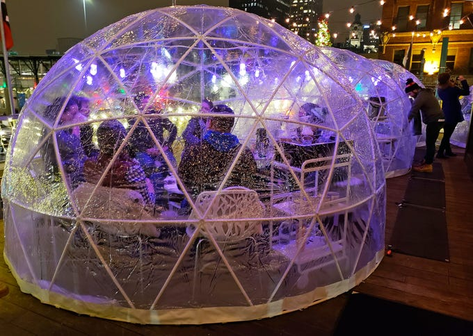 Cafe Benelux in Milwaukee's Third Ward added six Lux Domes to its rooftop for the winter. The domes, which have small heaters and fit eight people each, opened Nov. 30, 2018, and are open to reservations only. They are sold out through Dec. 23.