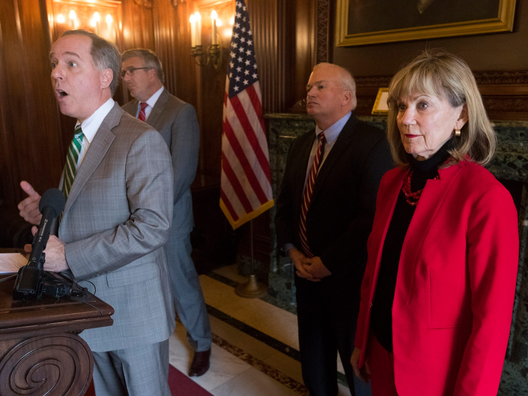 Assembly Speaker Robin Vos speaks during a news conference Monday, Dec. 3, 2018, at the Capitol in Madison. Joining him were (from left) state Rep. John Nygren, Senate Majority Leader Scott Fitzgerald and state Sen. Alberta Darling.