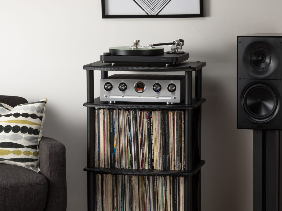 Pangea Audio TTx2 Vulcan Turntable Stand with Mega Record Storage, $199. Includes room to store 200 records.