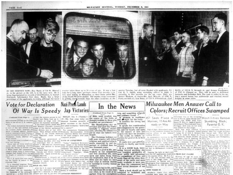 The Dec. 9, 1941, edition of the Milwaukee Sentinel featured photos of men enlisting in the military the day after the attack on Pearl Harbor. Among them is Roy K. Marin in the picture at left.