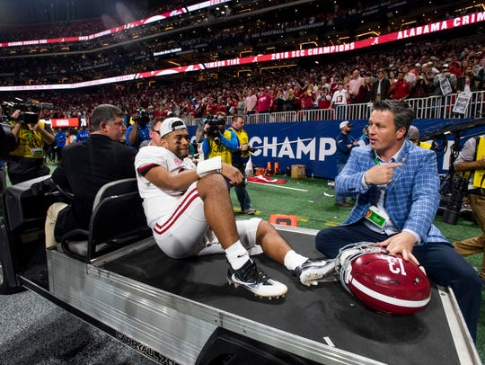 Injured Alabama quarterback Tua Tagovailoa is carted off of the field after the Alabama win in the SEC Championship Game at Mercedes-Benz Stadium in Atlanta on Saturday Dec. 1, 2018.