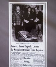 A December 6, 1969 Montgomery Advertiser article about the time capsule is displayed as the City of Montgomery and the Alabama Department of Archives and History unveiled, during a ceremony at the Archives on Monday December 3, 2018, the 1969 time capsule that will be opened on the 200th anniversary of the incorporation of Montgomery on December 3, 2019.