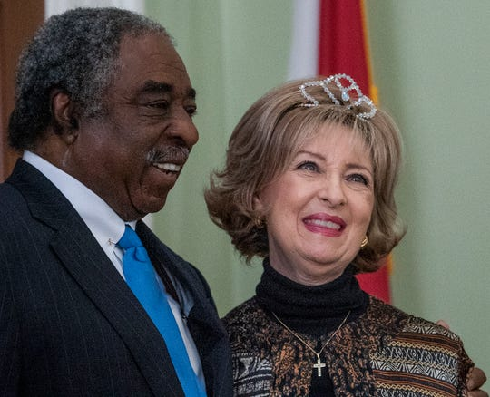 Miss Montgomery 150 Sharon Myers laughs with Judge Charles Price as the City of Montgomery and the Alabama Department of Archives and History unveiled, during a ceremony at the Archives on Monday December 3, 2018, the 1969 time capsule that will be opened on the 200th anniversary of the incorporation of Montgomery on December 3, 2019.