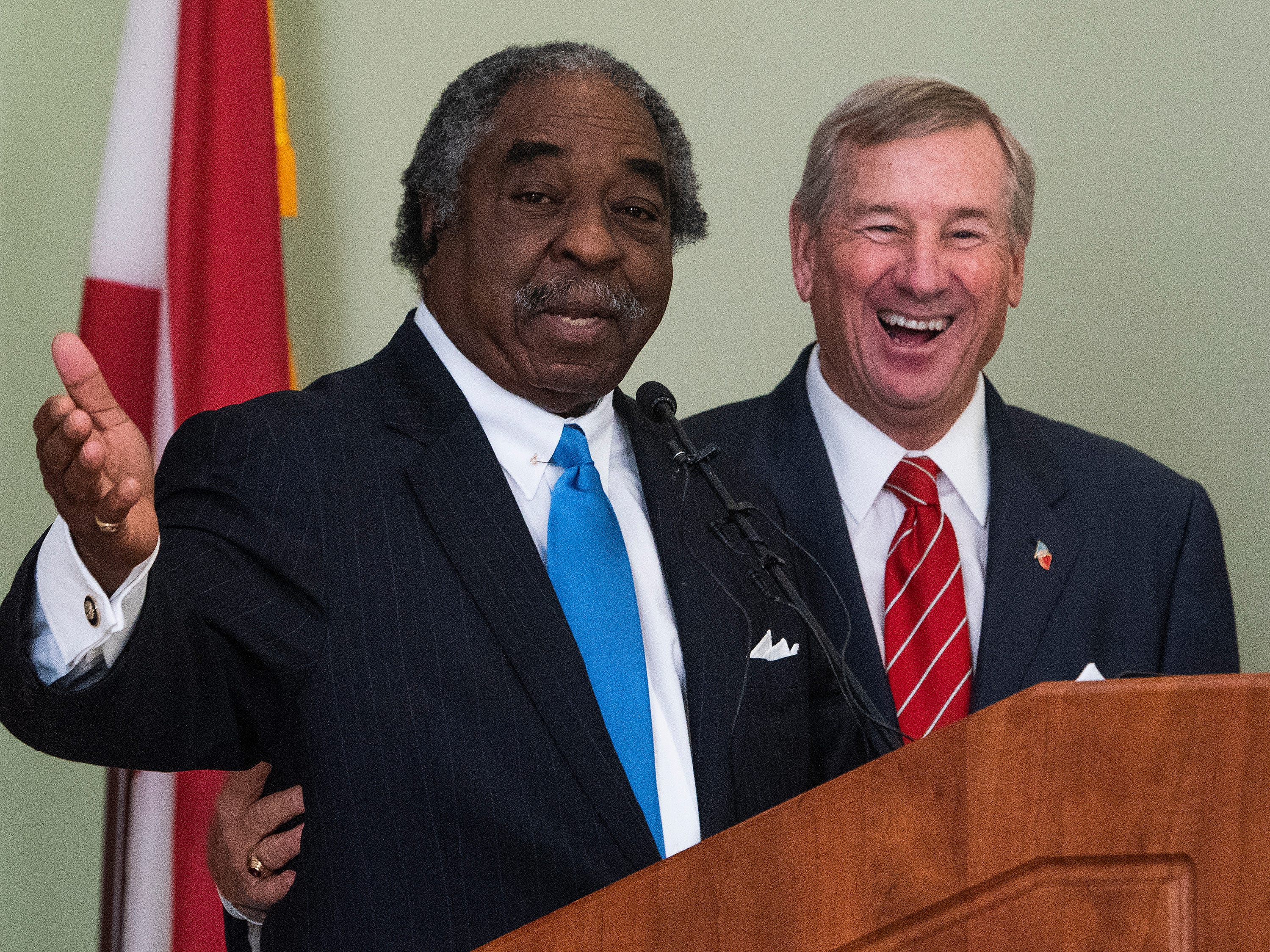 Charles Price and Mayor Todd Strange speak as the City of Montgomery and the Alabama Department of Archives and History unveiled, during a ceremony at the Archives on Monday December 3, 2018, the 1969 time capsule that will be opened on the 200th anniversary of the incorporation of Montgomery on December 3, 2019.