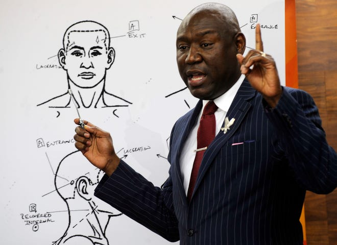 "Attorney Ben Crump discusses the results of a forensic examination on Emantic ""EJ"" Bradford Jr., who was fatally shot by police in a shopping mall on Thanksgiving day, during a news conference in Birmingham, Ala., on Monday, Dec. 3, 2018."