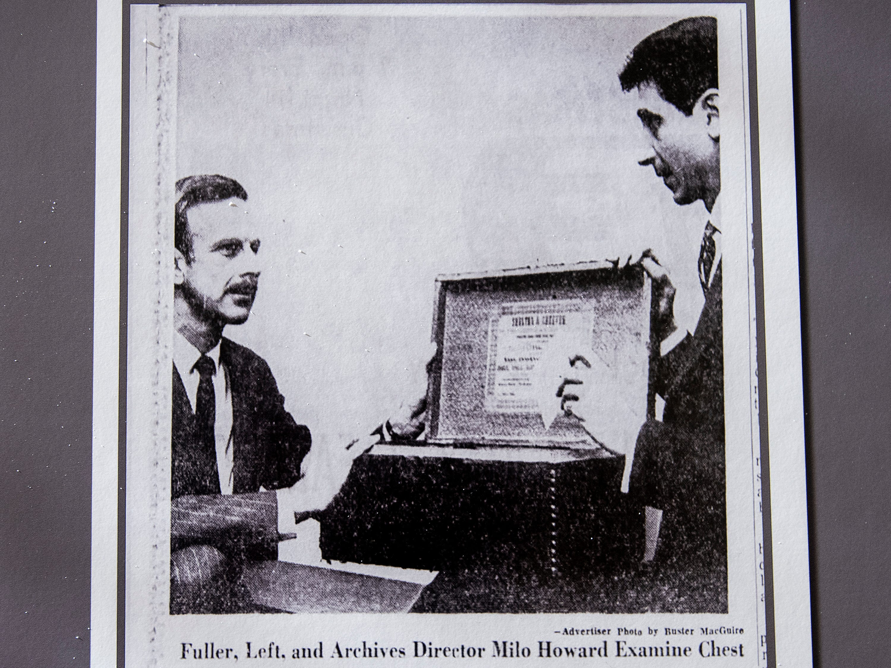 James Fowler is shown in a November 1969 Montgomery Advertiser photo displayed as the City of Montgomery and the Alabama Department of Archives and History unveiled, during a ceremony at the Archives on Monday December 3, 2018, the 1969 time capsule that will be opened on the 200th anniversary of the incorporation of Montgomery on December 3, 2019.