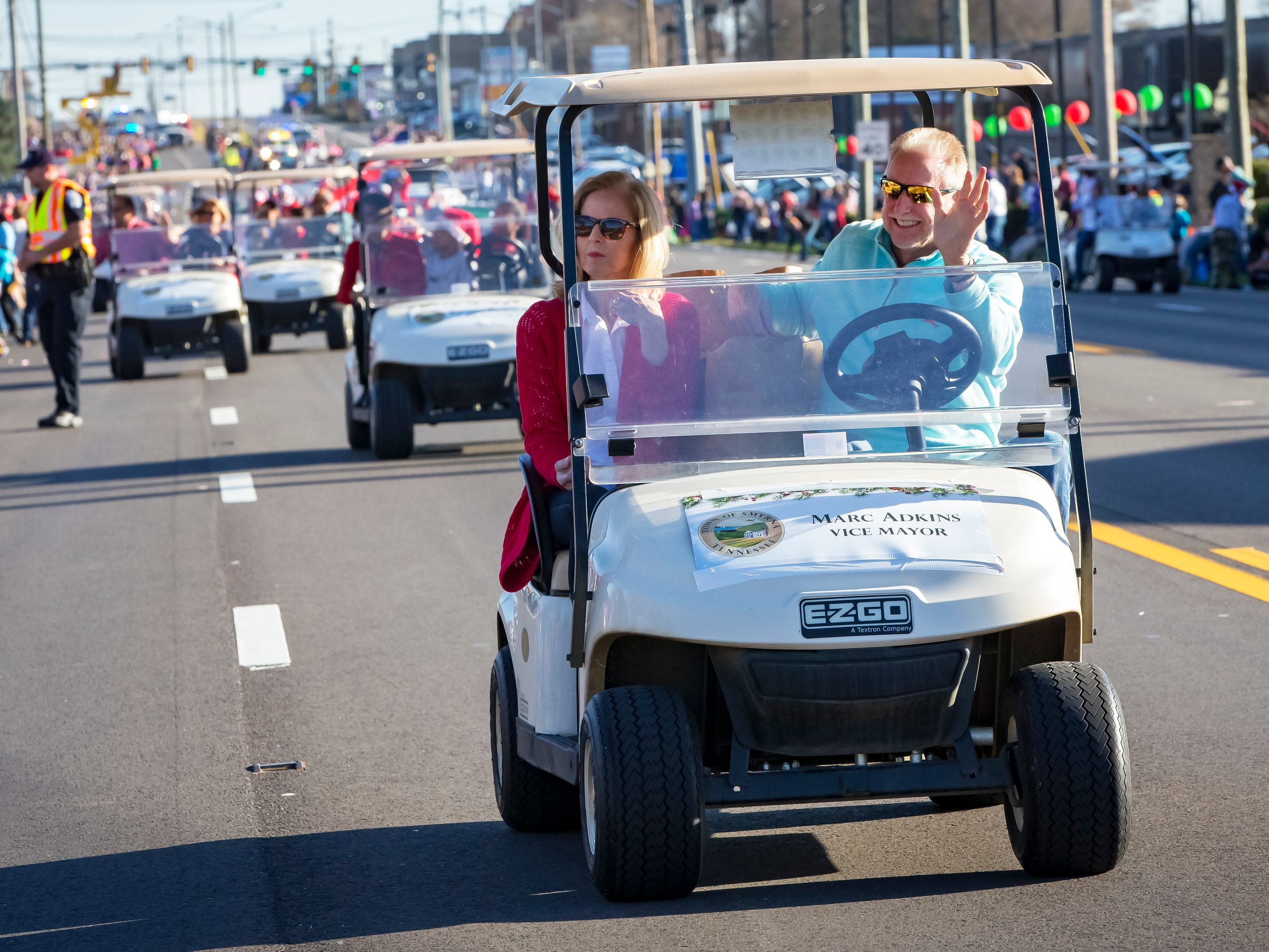 Smyrna's 44th annual Christmas parade was held Sunday, Dec. 2, 2018. Vice Mayor Marc Adkins and his wife Connie rode in a golf cart.