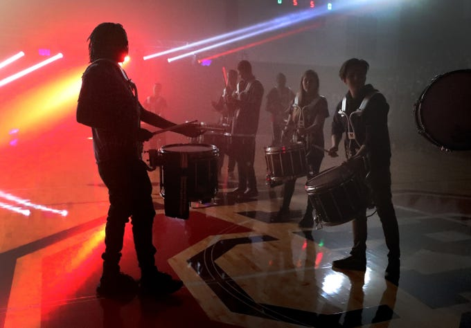 The Oakland High school drumline performs during a pep rally held at the school, Monday, Dec. 3, 2018 after the football team won the 6A State Championship BlueCross Bowl game against Westhaven on Thursday.