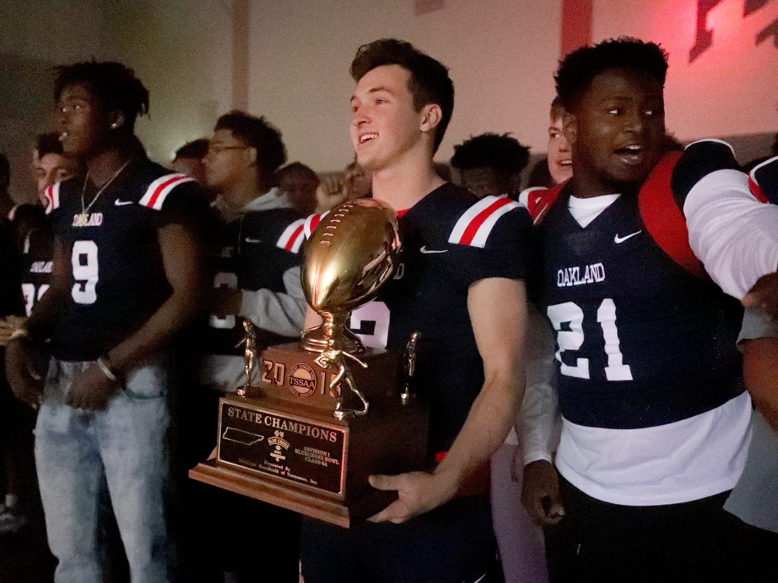 Oakland High School holds a pep rally, on Monday, Dec. 3, 2018 at the school after the football team won the 6A State Championship BlueCross Bowl game against Westhaven on Thursday.