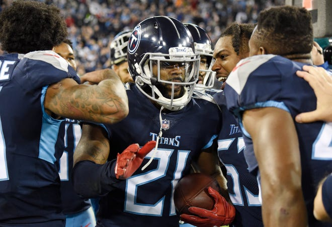 Titans cornerback Malcolm Butler (21) celebrates his interception that sealed the win late in the fourth quarter at Nissan Stadium Sunday, Dec. 2, 2018, in Nashville, Tenn.