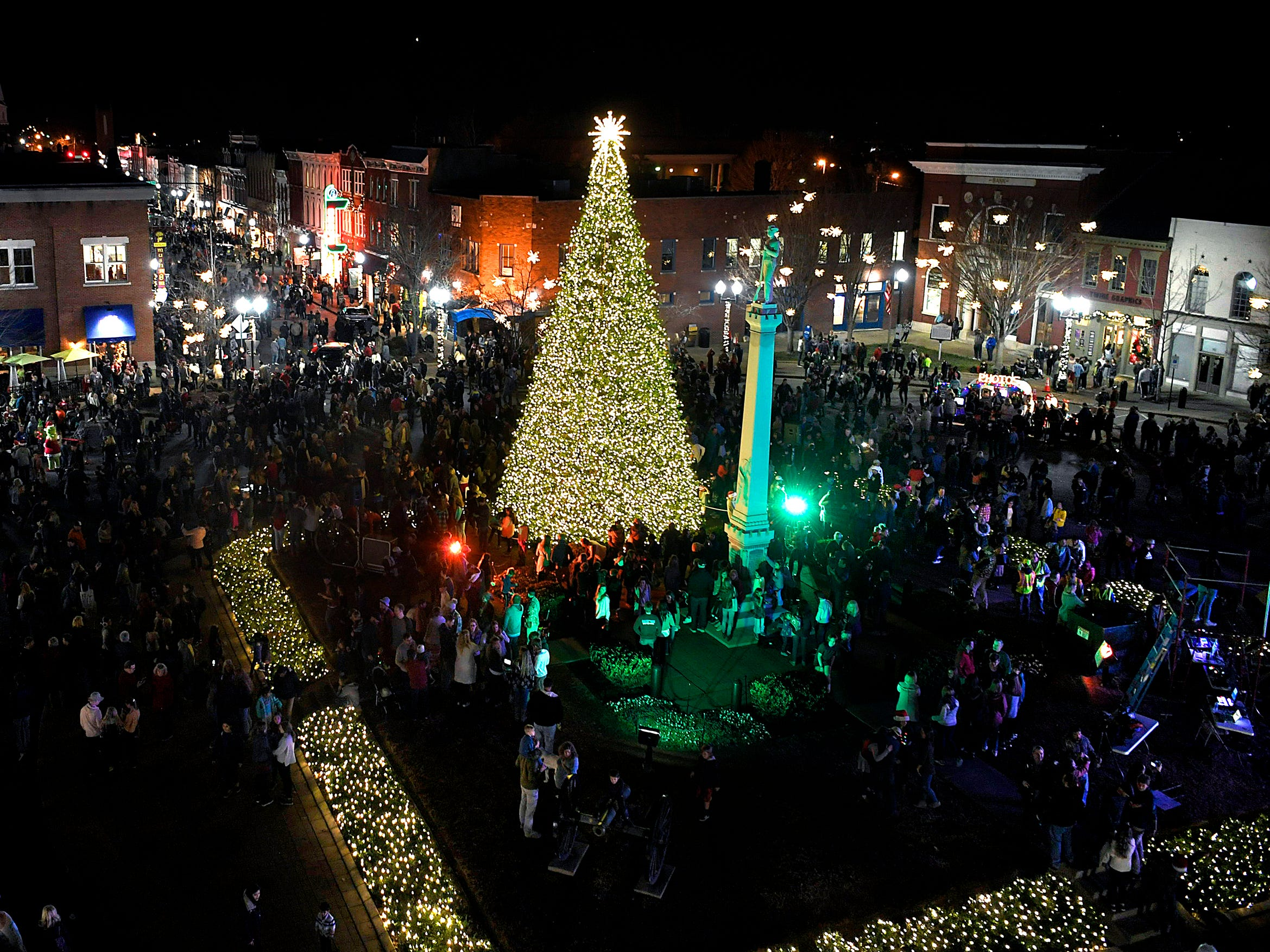 A view from Middle Tennessee Electric Membership Corporation truck of  Franklin's annual Christmas Tree Lighting on Sunday, Dec. 2, 2018.