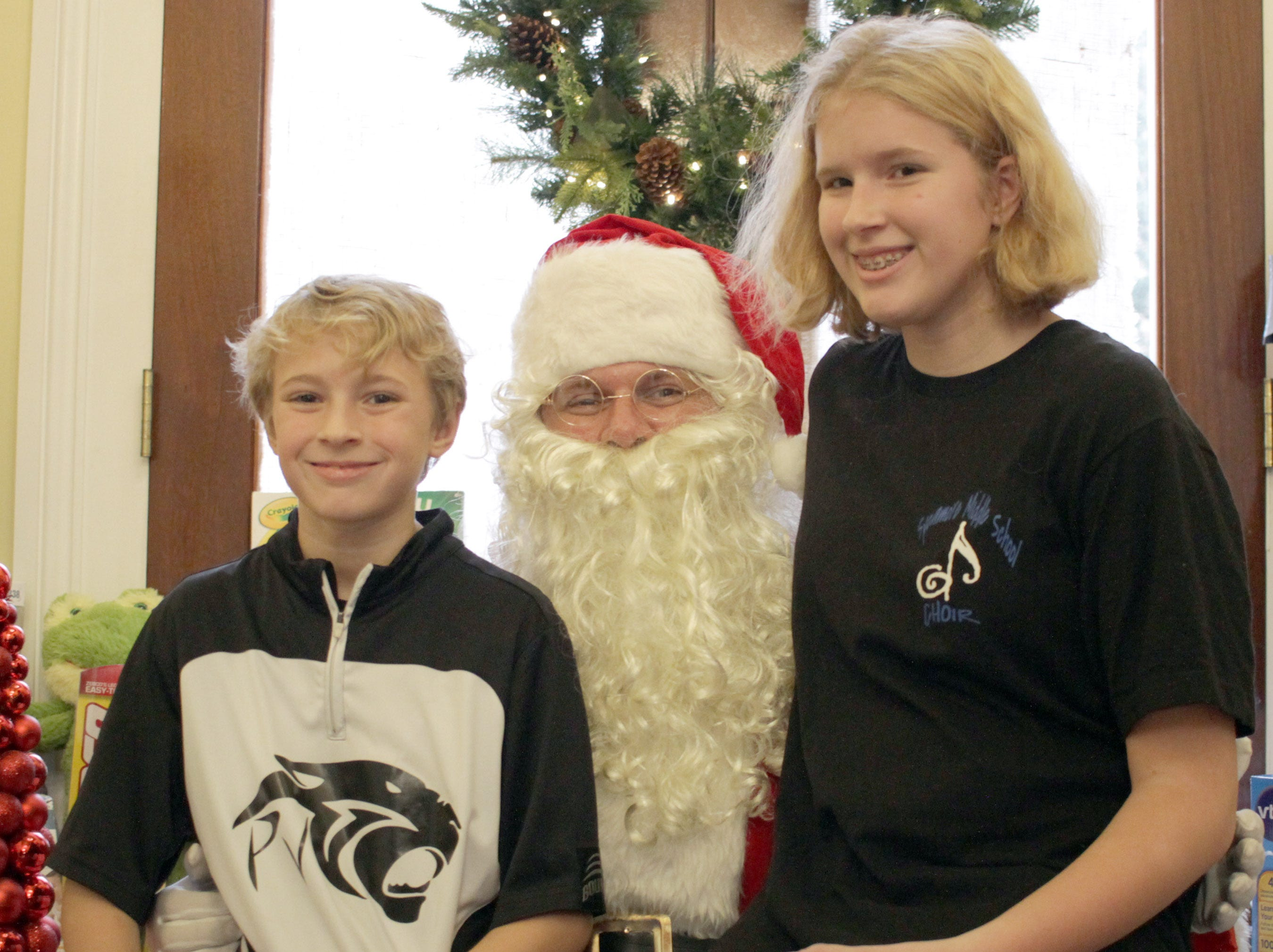 L-R Mac and Alyssa Gagnon visit with Santa in Ashland City, TENN on Saturday, December 1, 2018.