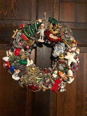 Suzanne Giltner, of Bloomington, Minnesota, makes wreaths from holiday-themed pins she finds at flea markets and thrift stores.