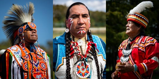 """Left: Native Pride Dancer Arlan Whitebreast, from the Meskwaki tribe in Iowa, waits outside the tent before demonstrating a grass dance during the 21st annual American Indian Arts Celebration on Friday, Nov. 2, 2018, on the grounds of the Ah-Tah-Thi-Ki museum in the Big Cypress Seminole Indian Reservation.   Center: Native Pride Dancer Larry Yazzie, from the Meskwaki tribe in Iowa, poses for a portrait. Yazzie was inspired to start dancing when he was 7 after watching the dancers at the annual Meskwaki powwow, and now he travels all around the world to demonstrate his culture. """"If the kids are watching you they learn, they learn by observing,"""" he said. """"If you look around you see this beautiful culture around here, why throw all that away when we can preserve it for our children, the kids can watch and keep it going.""""  Right: Seminole rainmaker Bobby Henry poses for a portrait. Henry says that when non-indigenous people come to Florida, they often forget about the Seminole people, and he hopes that the schoolchildren who come and hear him talk about the culture will go home and share that with their families."""