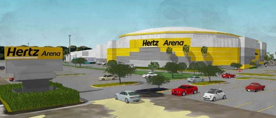 A rendering of new proposed Hertz Arena color scheme from the southwest.