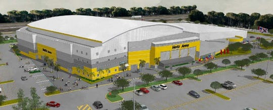 A rendering of the new proposed Hertz Arena color scheme from the southeast.