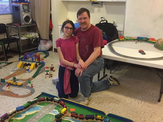 Ed Stehno and his daughter, Hope, came all the way from Indiana to set up a model train display in the First Presbyterian Church for Saturday's event.