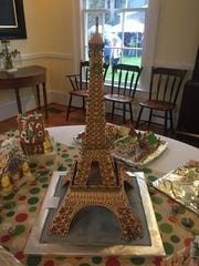 The Eiffel Tower as rendered in gingerbread.