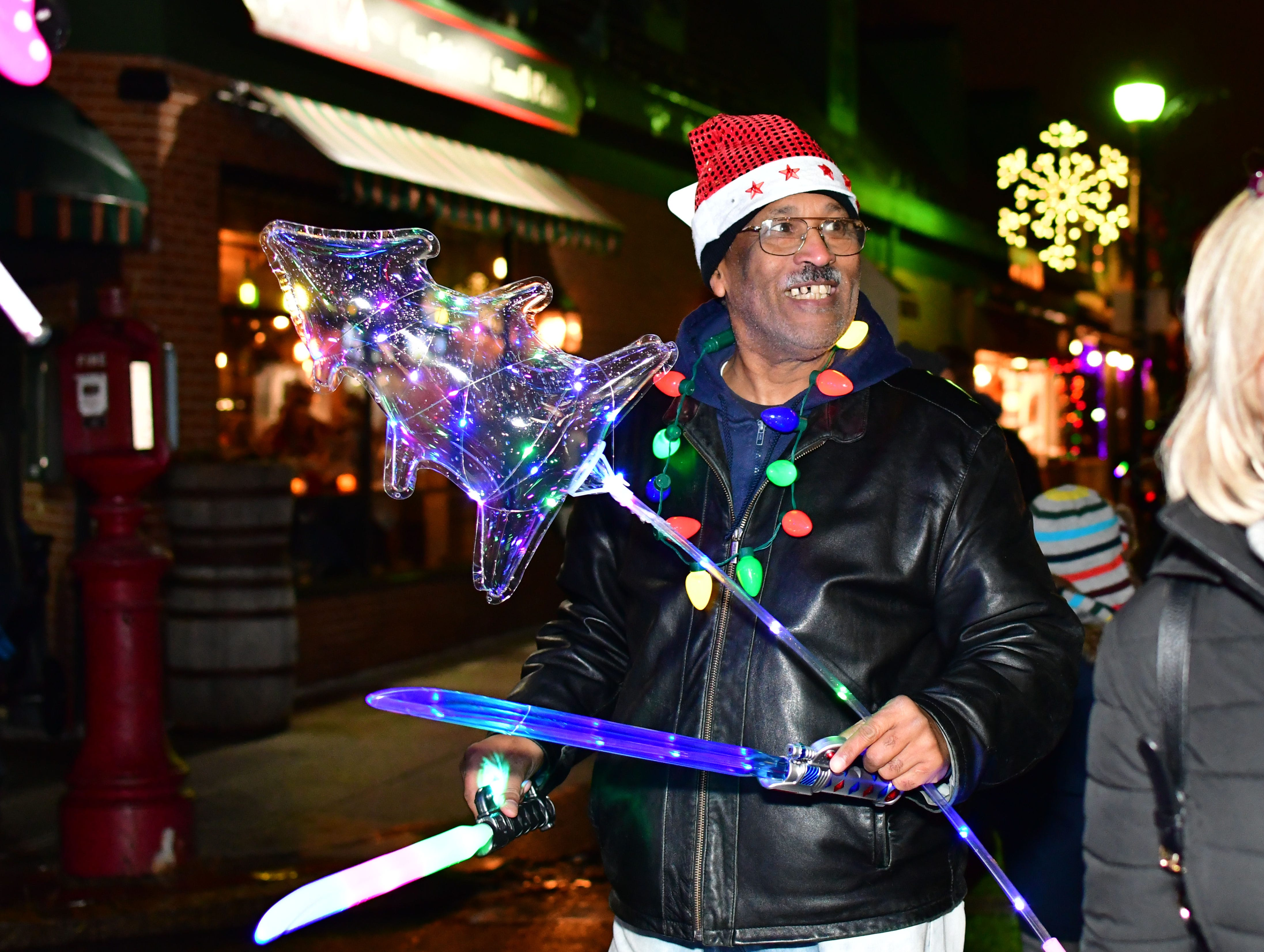 Street seller of toys for kids.  Holiday festivities along East Ridgewood Avenue in Ridgewood on Nov. 30.