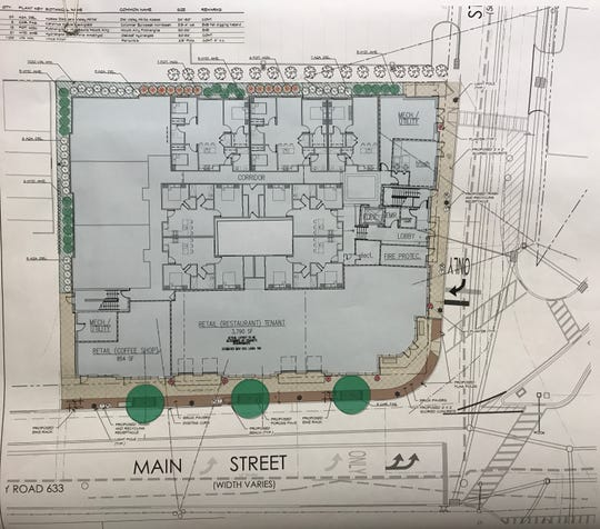 Landscape and streetscape plans for a three-story mixed use retail and apartment building under review in downtown Lincoln Park. Hearings have just gotten underway for Meridia Capodagli Property's Meridia Transit Village plan before the Planning Board.