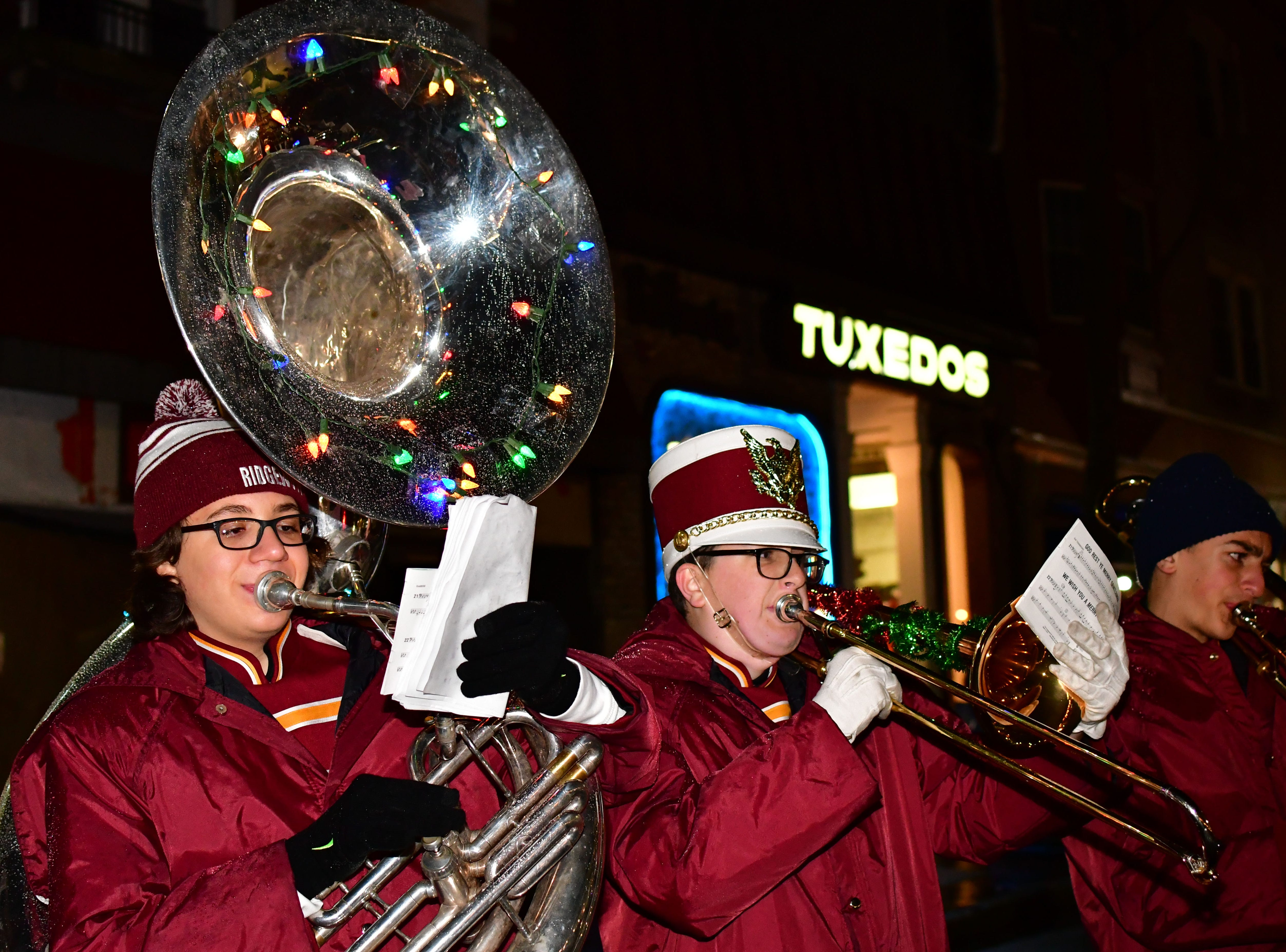 Jake Daghlian, on tuba.  Holiday festivities along East Ridgewood Avenue in Ridgewood on Nov. 30.