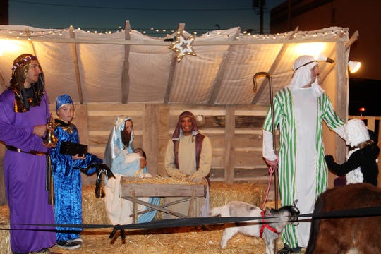 The Live Nativity Scene by Christ Community Church was set up at Olde Fashioned Christmas in historic downtown Alamogordo Saturday.