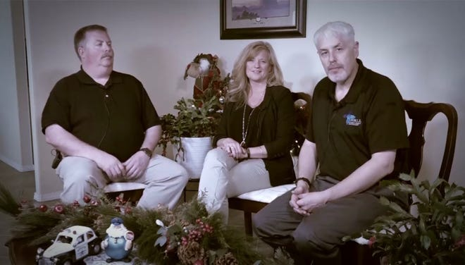 Farmington Fire Chief David Burke, right, Janet Hebbe, center and Farmington Police Chief Steve Hebbe spoke during a video about the Guardians of the Good fund they established.