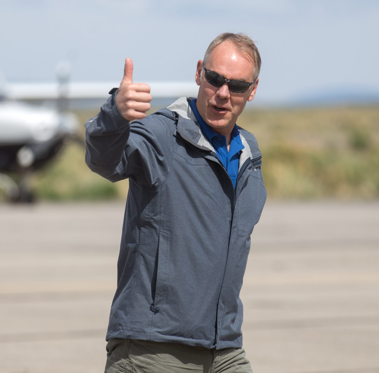 U.S. Interior Secretary Ryan Zinke arrives, Monday, May 8, 2017 at the Blanding Muncipal Airport in Utah during a review of the Bears Ears National Monument designation.