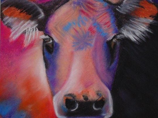 An artistic rendering of a colorful cow from last Spring's student art show at ENMU.