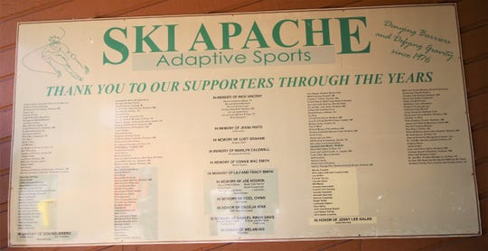 A reminder, that hangs on a wall at the Adaptive Ski Program, never forgetting all of the generous sponsors and donors through the 43 years of the program.