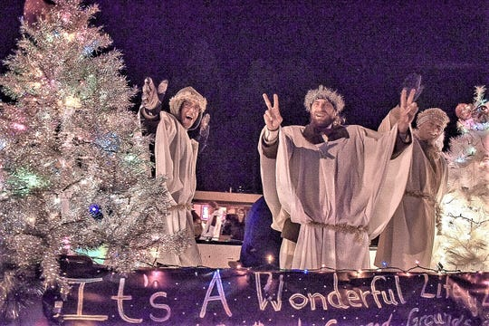 "The float for the Lincoln County Community Theater promoted the upcoming production of ""It's a Wonderful Life; A Live Radio Play."""