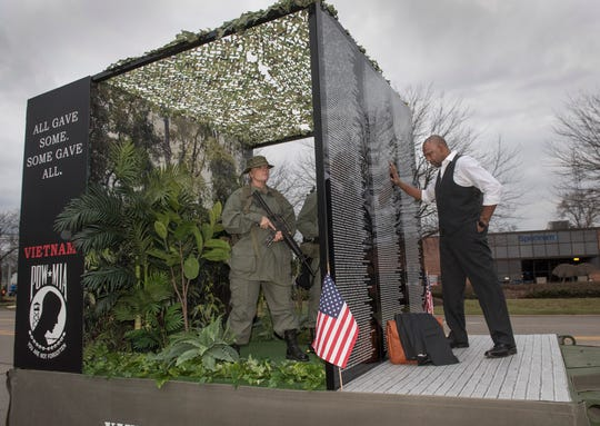 The Vietnam Veteran's traveling wall is coming to Livonia next August. Roush Industries built this float to promote the event.