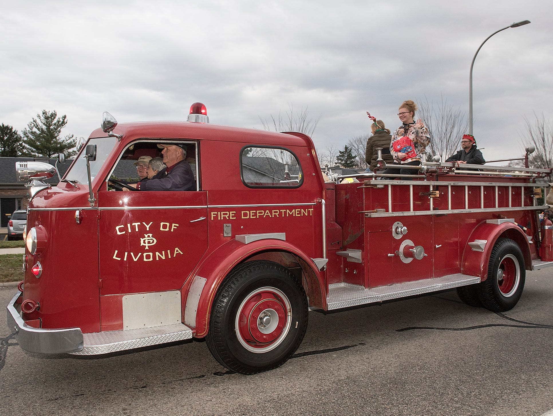 Livonia's vintage fire truck makes an appearance.