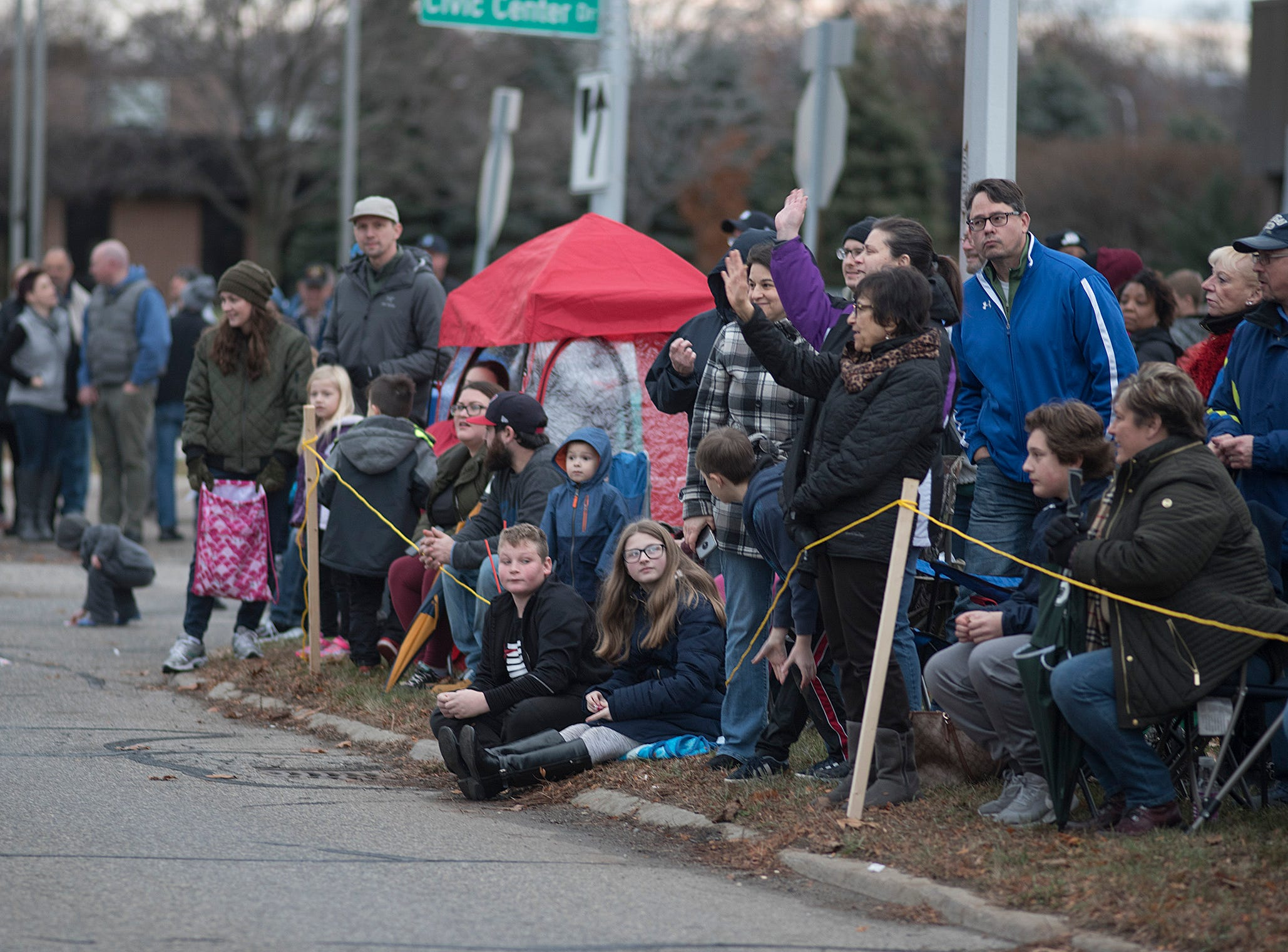 The first half of the parade was dry, but it began to rain. Most of the crowd stayed.