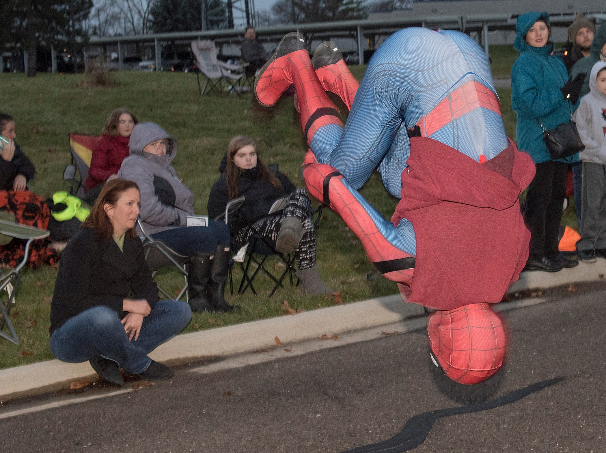 Spidey joined the guys from Phoenix Freerunning Academy and was pretty excited about the parade.