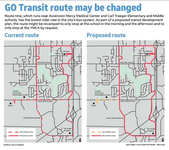 This graphic shows the proposed route change for route nine.