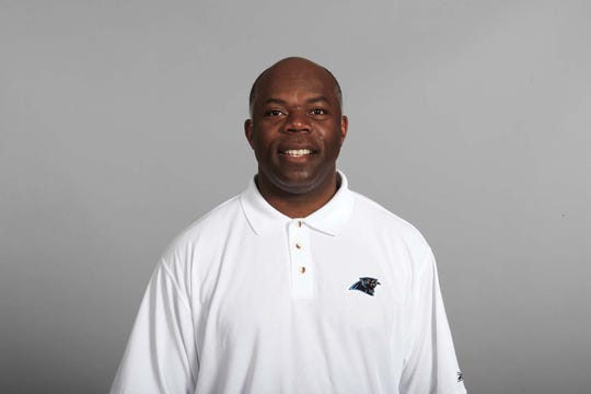 Tim Lewis poses for his 2008 NFL headshot with the Carolina Panthers.