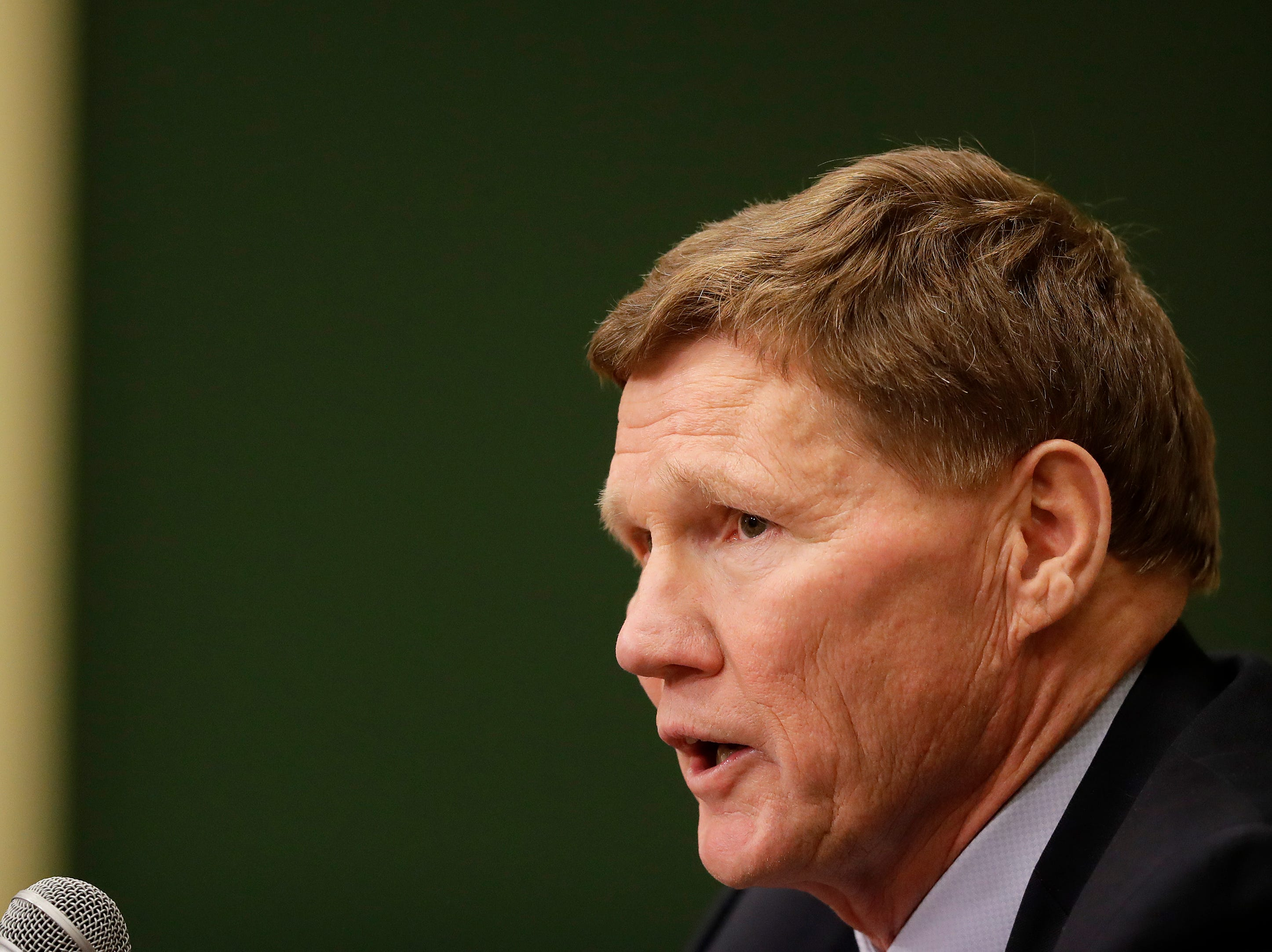 Green Bay Packers President and Chief Executive Officer Mark Murphy speaks at a press conference at Lambeau Field on Monday, December 3, 2018 in Green Bay, Wis.