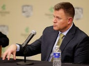 Green Bay Packers General Manager Brian Gutekunst speaks at a press conference at Lambeau Field on Monday, December 3, 2018 in Green Bay, Wis.Adam Wesley/USA TODAY NETWORK-Wisconsin