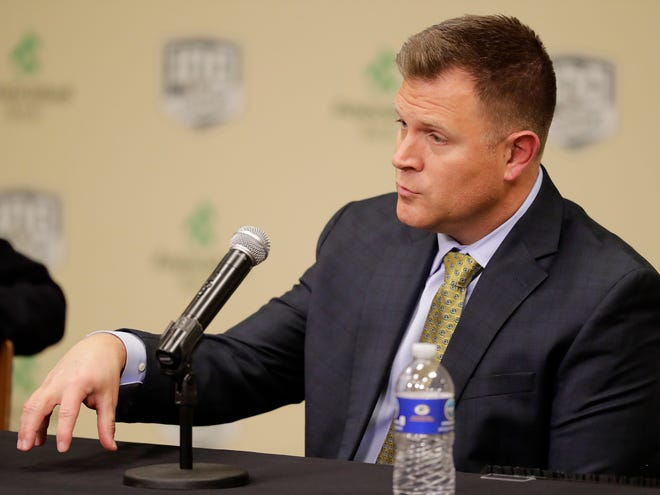 Green Bay Packers General Manager Brian Gutekunst speaks at a press conference at Lambeau Field on Monday, December 3, 2018 in Green Bay, Wis.