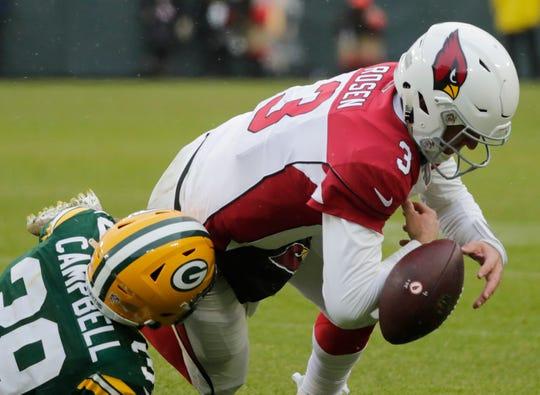 Green Bay Packers defensive back Ibraheim Campbell (39) tackles Arizona Cardinals quarterback Josh Rosen (3) at Lambeau Field on Sunday, December 2, 2018 in Green Bay, Wis.Adam Wesley/USA TODAY NETWORK-Wis