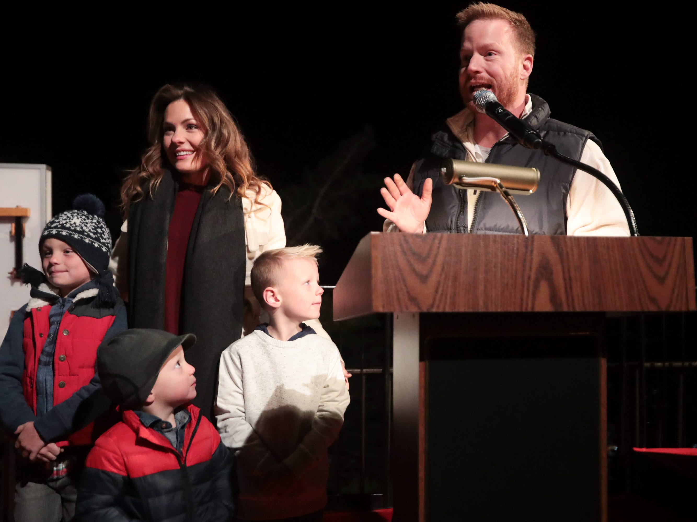 "HGTV's ""Desert Flippers"" hosts Eric and Lindsey Bennett host The Palm Springs Aerial Tramway's annual tree lighting ceremony with their three sons, Sunday, December 2, 2018."