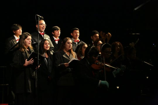 The Palm Springs High School Madrigals and string quartet perform at the Palm Springs Aerial Tramway's annual tree lighting ceremony, Sunday, December 2, 2018.