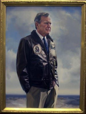 This painting of former President Bush was presented to his son Gov. Jeb Bush on March 30, 2001, at the National Naval Aviation Museum.