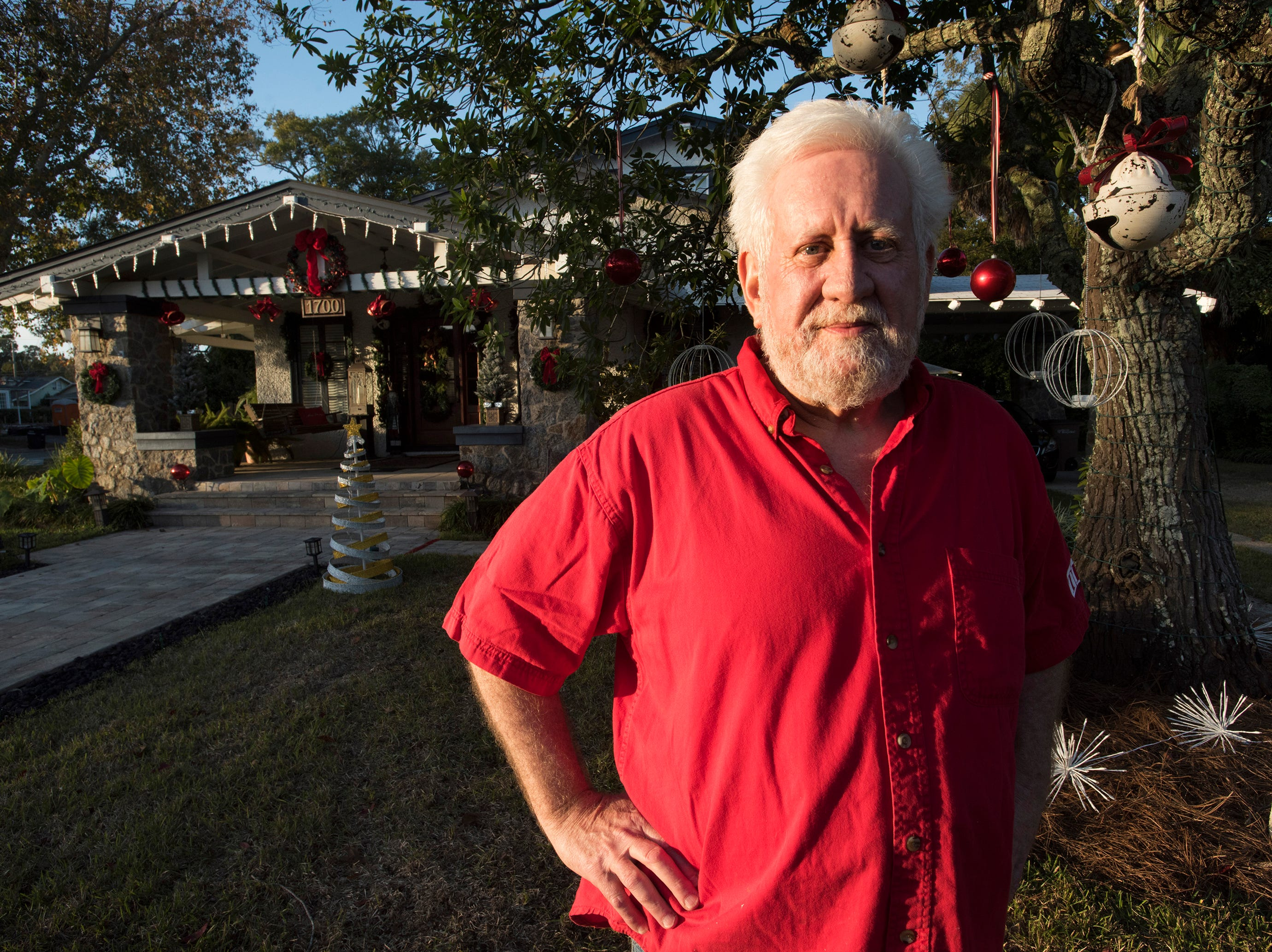 After 25-years of decoration his property for the holidays, Pensacola resident, Mike Burleson, is taking a break from his usual holiday display. On Monday, Dec. 3, 2018, Burleson finished his minimalist presentation.